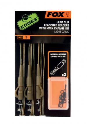 Fox Edges Leadcore Leaders Rigs inkl. Kwik Change Kit Light Camo
