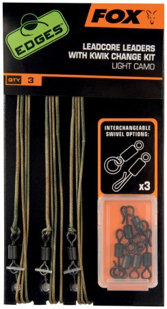 Fox-Edges Leadcore Leaders inkl. Kwik Change Kit Dark Camo