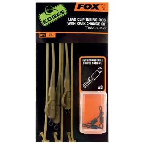 Fox - Edges Lead Clip Tubing Rig with Kwik Change Kit Trans Khaki