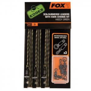 Fox - Edges 30lb Submerge Leaders inkl. Kwik Change Kit Green
