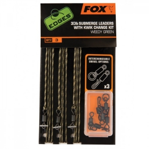Fox - Edges 30lb Submerge Leaders with Kwik Change Kit Brown