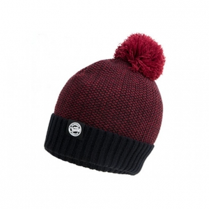 Fox Chunk Bobble Hat Burgundy/Black